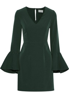 Milly Woman Morgan Fluted Cady Mini Dress Forest Green