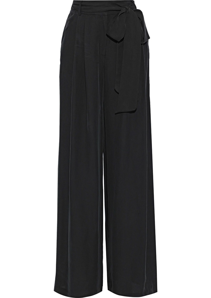Milly Woman Natalie Belted Crepe De Chine Wide-leg Pants Black