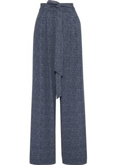 Milly Woman Natalie Belted Marled Twill Wide-leg Pants Mid Denim