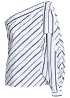 Milly Woman Nina One-shoulder Striped Cotton-poplin Top White
