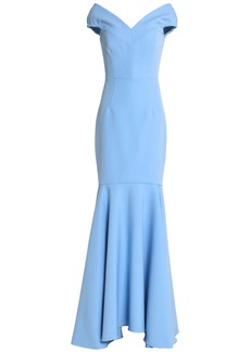 Milly Woman Fluted Crepe Gown Light Blue