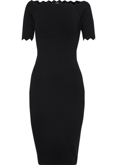 Milly Woman Off-the-shoulder Scalloped Stretch-knit Dress Black