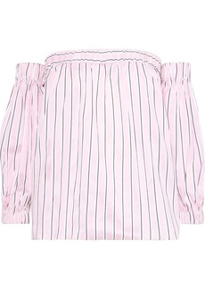 Milly Woman Off-the-shoulder Striped Cotton And Silk-blend Blouse Pastel Pink