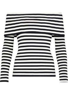 Milly Woman Off-the-shoulder Striped Ribbed-knit Top Black