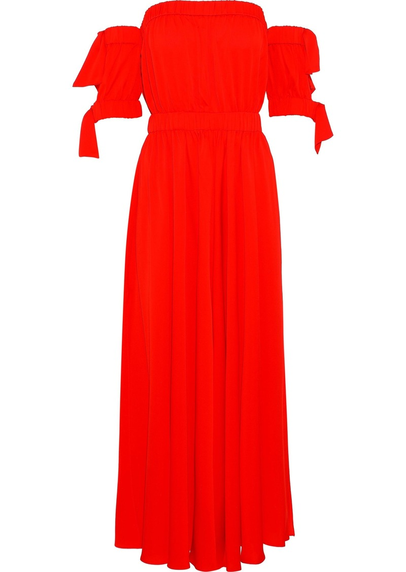 Milly Woman Off-the-shoulder Tie-detailed Silk-blend Midi Dress Tomato Red