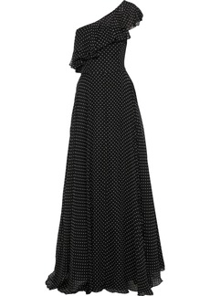 Milly Woman Kelly One-shoulder Ruffled Polka-dot Silk-chiffon Gown Black