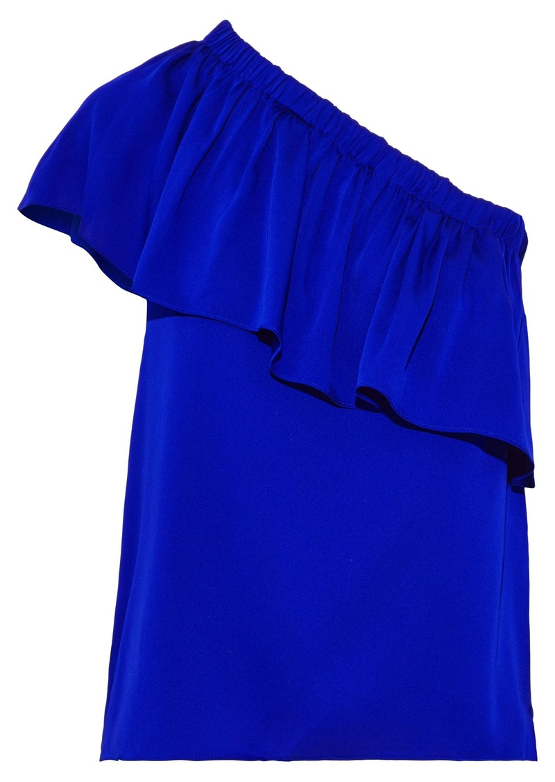 Milly Woman One-shoulder Ruffled Stretch-silk Crepe De Chine Top Royal Blue