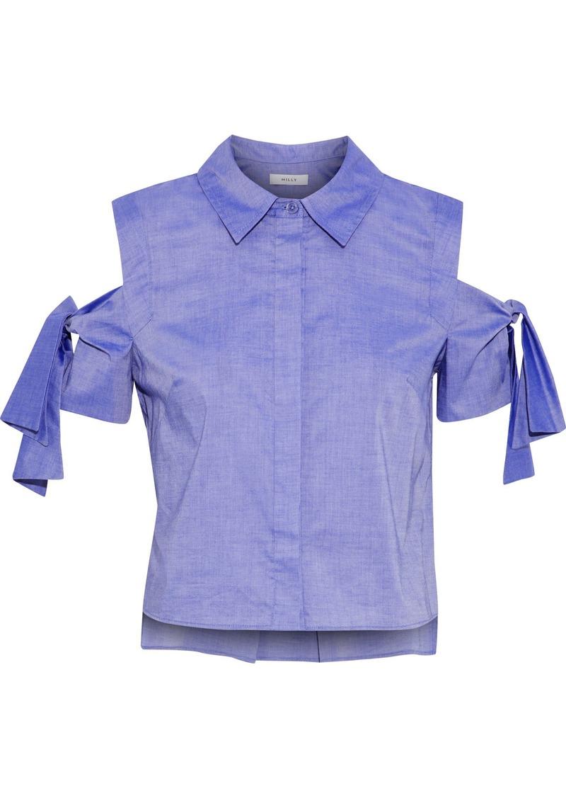 Milly Woman Paris Cold-shoulder Cotton-chambray Shirt Indigo