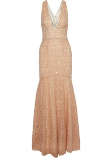 Milly Woman Penelope Fluted Embellished Tulle Gown Peach