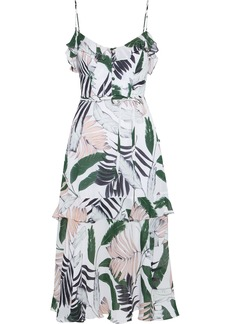 Milly Woman Petal Ruffle-trimmed Printed Silk Crepe De Chine Midi Dress White