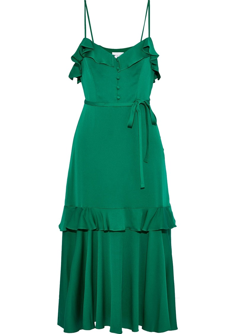 Milly Woman Petal Ruffle-trimmed Stretch-silk Midi Dress Forest Green
