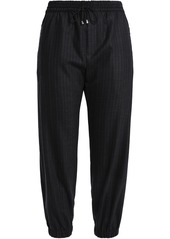 Milly Woman Pinstriped Wool-blend Twill Track Pants Charcoal