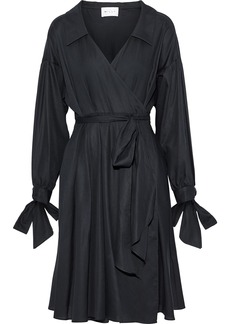 Milly Woman Pleated Cotton Wrap Dress Black