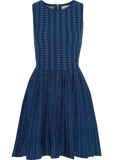 Milly Woman Pleated Jacquard-knit Mini Dress Navy