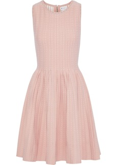 Milly Woman Pleated Polka-dot Jacquard-knit Dress Pastel Pink
