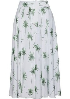 Milly Woman Printed Cady Midi Skirt White