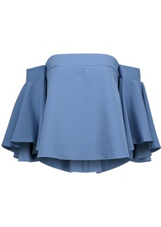 Milly Woman Rosa Off-the-shoulder Crepe Top Azure