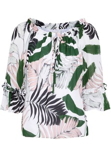Milly Woman Ruffle-trimmed Printed Silk Crepe De Chine Blouse White
