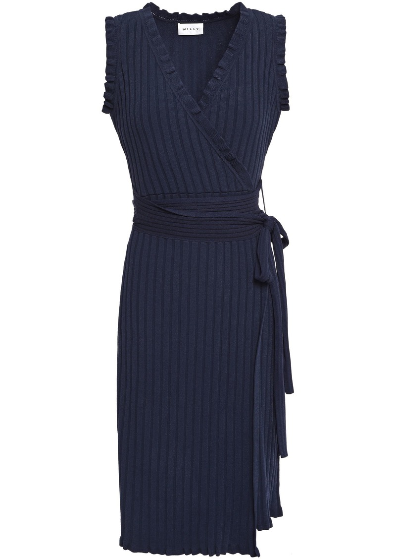 Milly Woman Ruffle-trimmed Ribbed-knit Wrap Dress Navy