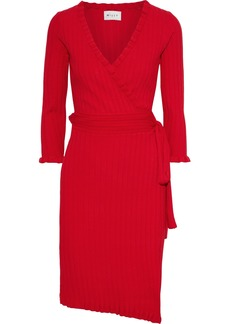 Milly Woman Ruffle-trimmed Ribbed-knit Wrap Dress Red