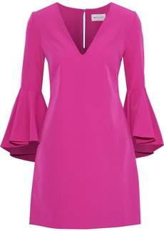 Milly Woman Ruffled Crepe Mini Dress Magenta