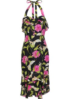 Milly Woman Ruffled Floral-print Silk-chiffon Halterneck Dress Multicolor