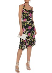 Milly Woman Ruffled Floral-print Silk-chiffon Halterneck Dress Multicolor