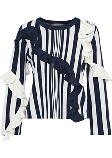 Milly Woman Ruffled Striped Stretch-knit Sweater Navy
