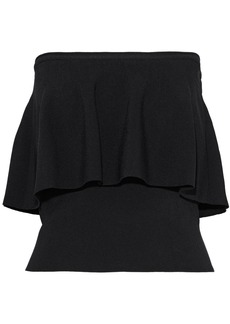 Milly Woman Strapless Layered Stretch-knit Top Black
