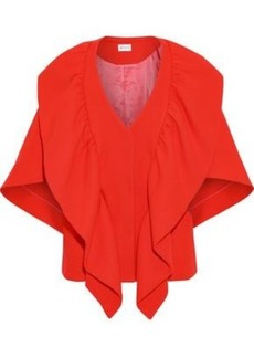 Milly Woman Ruffled Wool-blend Cape Tomato Red
