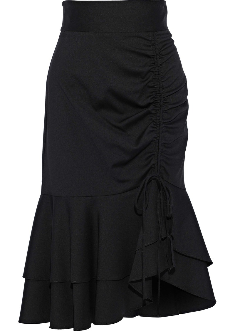 Milly Woman Ruffled Wool-blend Skirt Black