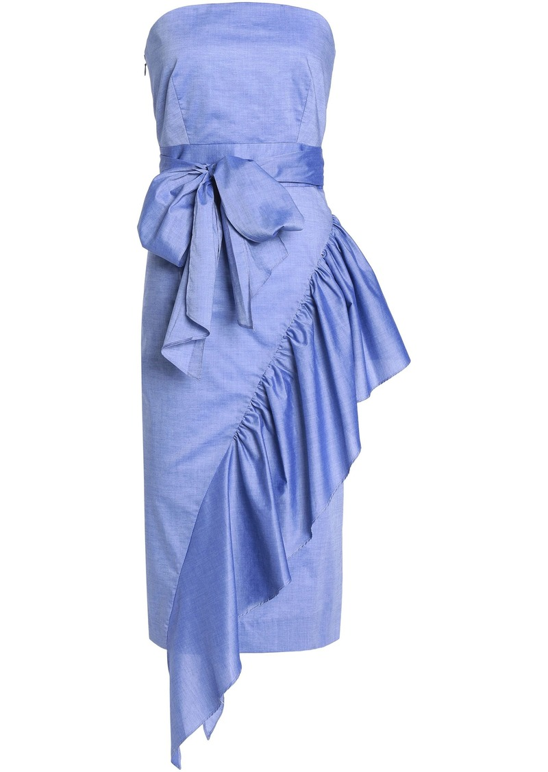 Milly Woman Sasha Strapless Ruffled Cotton-chambray Dress Light Blue
