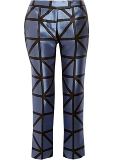 Milly Woman Satin-jacquard Slim-leg Pants Azure