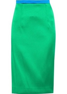 Milly Woman Satin-twill Pencil Skirt Bright Green
