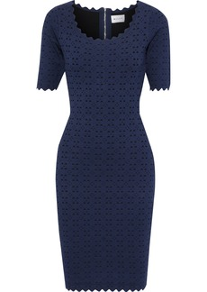 Milly Woman Scalloped Laser-cut Ponte Dress Navy