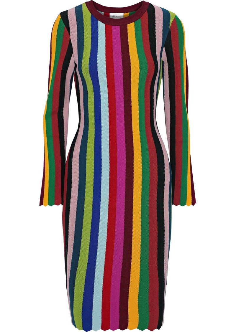 Milly Woman Scalloped Striped Intarsia-knit Dress Multicolor