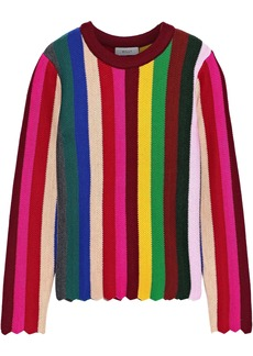 Milly Woman Scalloped Striped Wool-blend Sweater Multicolor