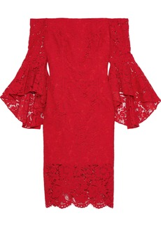 Milly Woman Selena Off-the-shoulder Corded Lace Dress Red