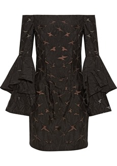 Milly Woman Selena Off-the-shoulder Organza-trimmed Twill Mini Dress Black