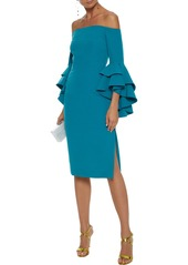 Milly Woman Selena Off-the-shoulder Ruffled Cady Dress Teal