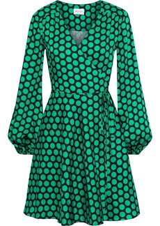 Milly Woman Gathered Polka-dot Satin-twill Mini Wrap Dress Green