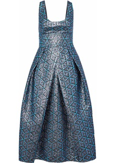 Milly Woman Stella Pleated Metallic Jacquard Midi Dress Light Blue