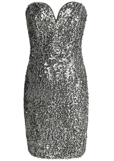 Milly Woman Strapless Sequined Crepe Mini Dress Metallic