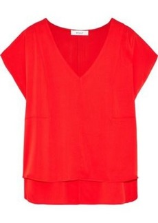 Milly Woman Stretch-silk Blouse Red