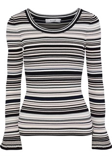 Milly Woman Striped Ribbed-knit Sweater Black