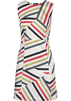 Milly Woman Striped Satin-twill Mini Dress White