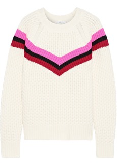 Milly Woman Striped Intarsia Merino Wool Sweater Off-white