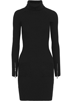 Milly Woman Suede-paneled Ribbed Stretch-wool Turtleneck Mini Dress Black