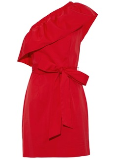 Milly Woman Tara One-shoulder Ruffled Cotton-blend Poplin Mini Dress Red