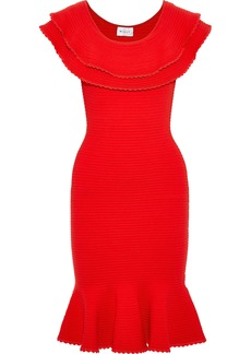 Milly Woman Layered Fluted Ribbed-knit Dress Red
